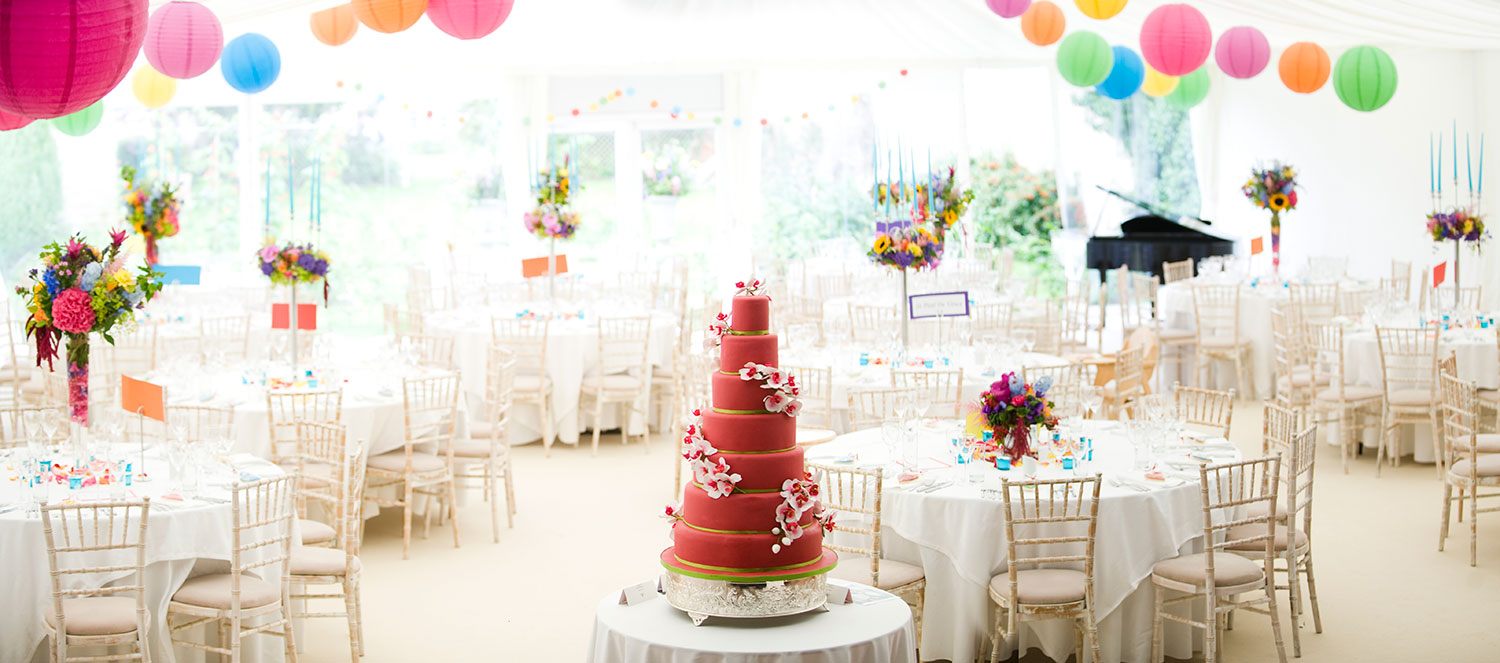 Brightly Decorated Wedding Marquee