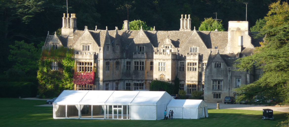 Erected marquee in front garden