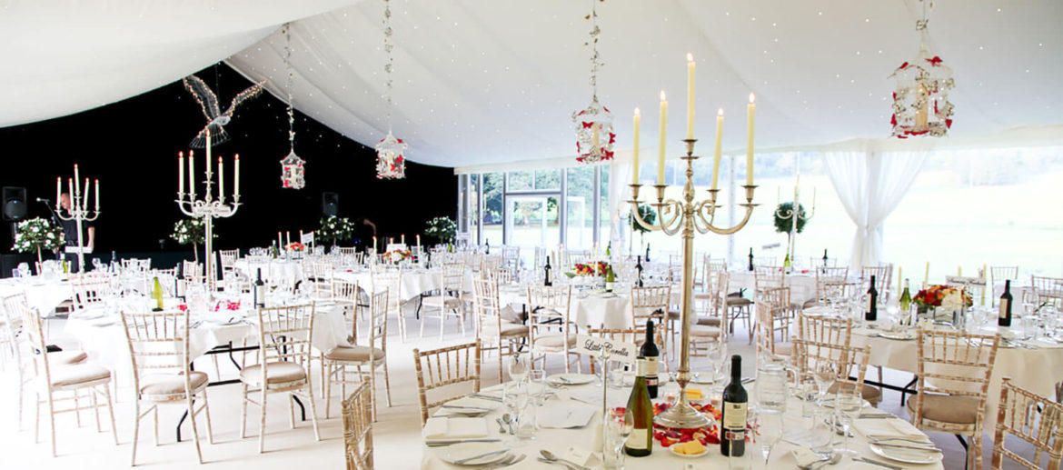 Tables, chairs and decorations for hired wedding event