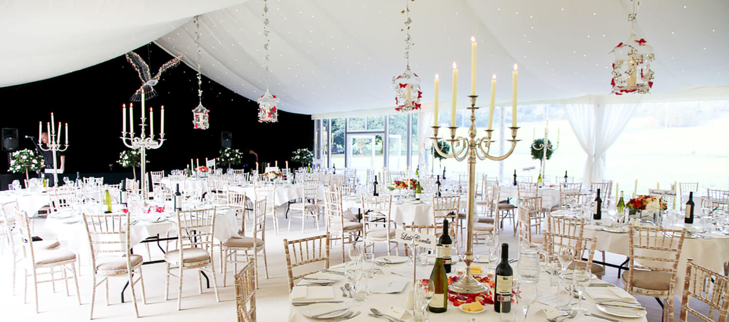 Inside of the wedding marquee