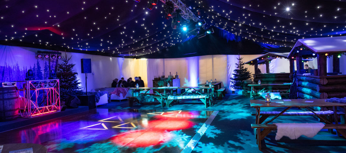 evening disco event in a large marquee area
