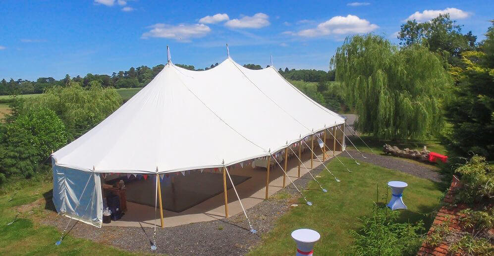 wodden poled marquee for a wedding in Swindon area